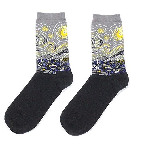 Otoño e Invierno Ropa Retro para Mujer Nuevo Arte Van Gogh Mural mundialmente Famoso Serie de Pintura al óleo Calcetines para Hombres Calcetines Divertidos - 27