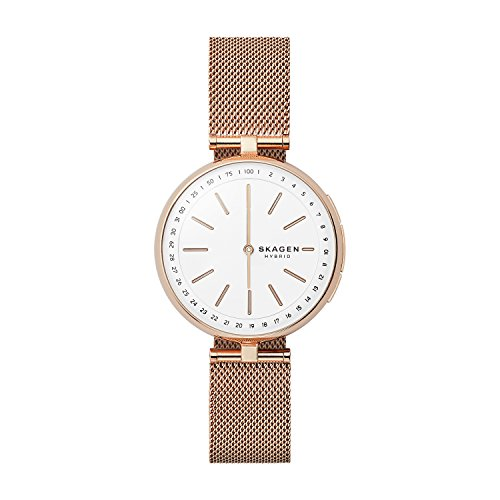 Skagen Women's Signatur T-Bar Quartz Watch with Stainless-Steel Strap, Rose Gold, 16 (Model:...