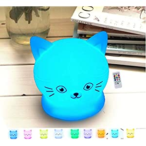 Soft Silicone LED Night Light Kawaii Cute Christmas Xmas Gifts for Teen Girl Kids New Mom Boys Women, Battery Powered Touch Sensor Rechargeable, Remote Control