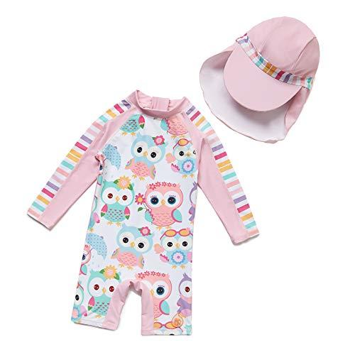 Baby Mädchen Ein stück Langärmelige-Kleidung UV-Schutz 50+ Badeanzug MIT Einem Reißverschluss(Pink-Welle punkte1,24-36M)