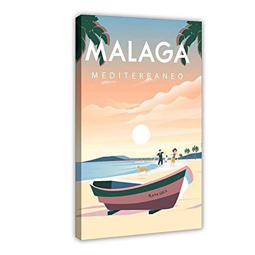 Póster de lona vintage de la ciudad de Málaga España paisaje retro de viaje para dormitorio, decoración deportiva, paisaje, oficina, habitación, marco de regalo, 50 x 75 cm