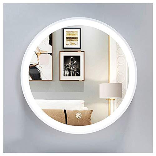 XDD Redondo Espejo de Baño con Luz LED Espejo de Baño de Ahorro de Energía Espejo de Maquillaje de Pared con Interruptor Táctil Antivaho Blanco Dorado 30cm 40cm
