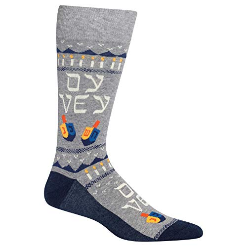HotSox Mens Oy Vey Socks, Sweatshirt Grey Heather, 1 Pair, Mens Shoe 6-12.5