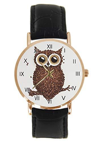 Lustige Eule Armbanduhr Fashion Klassisch Unisex Analog Quarz Edelstahl Gehäuse Lederarmband Uhren