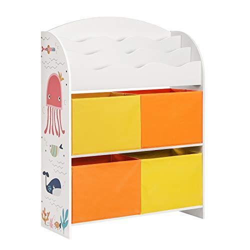 SONGMICS Spielzeugregal, Bücherregal für Kinder, Kinderzimmerregal mit 4 Stoffboxen, Spielzeug-Organizer, Kinderzimmer, Kindergarten, Schule, für Bücher und Spielzeug, multifunktional, weiß GKRS40WT