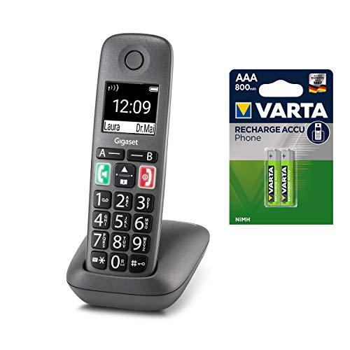 Gigaset Easy – Schnurloses Senioren-Telefon mit großen Tasten und extra lauter Klingelfunktion inkl. DECT Phone AAA Akku – hörgerätekompatibel, anthrazit-grau