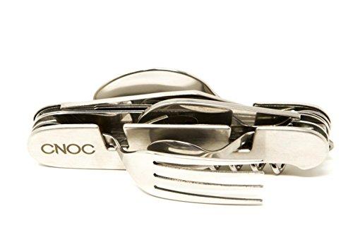 CNOC Pratique 9en1 Couverts de Camping de poche I 9-en-1 Lot de Fourchette Couteau Cuillère Ouvre-bouteille en Acier | Outils de camping - pliable & acier inoxydable - 190 gr