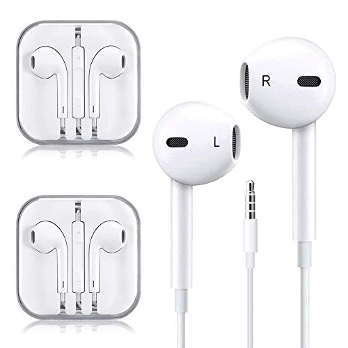 (2Pack) Headphones/Earbuds/Earphones, Super Premium in-Ear Wired Earphones with Remote & Mic Compatible with iOS Devices 6s/plus/6/5s/se/5c/iPad/MP3/Android Phones
