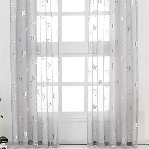 Kotile - Cortinas para habitación infantil con diseño de estrellas plateadas, color gris