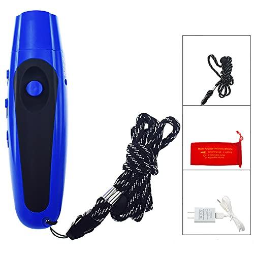 LIRONGXILY Silbato electrónico de supervivencia de emergencia, 125 dB, USB recargable, silbato de supervivencia con iluminación, silbato de árbitro, silbato de emergencia al aire libre (color azul)