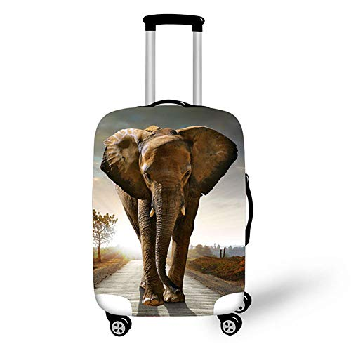 Travel Luggage Cover,Animal Elephant Print Elastic Protector Fit 18-32' Suitcase