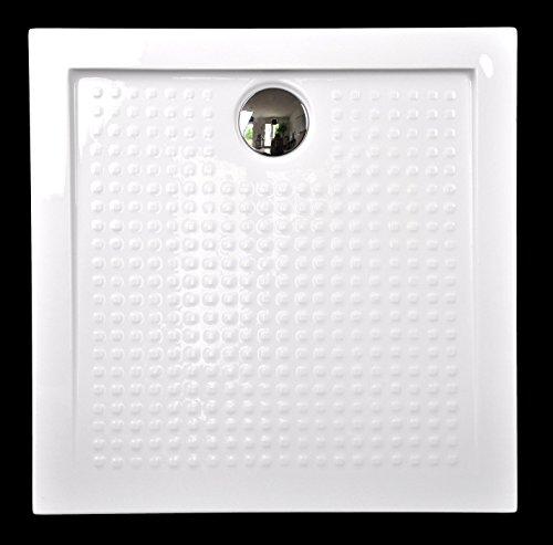 Superflache Duschwanne Duschtasse 90 x 90 cm Komplettes Set kratz und rutschfest Quadratisch glatt Weiß Hochglanz; Höhe 3,5 cm inkl. Ablaufgarnitur von Art-of-Baan®