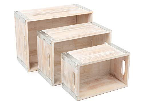 small foot company 11383 Caja Estilo Industrial, de Madera, Cajas Decorativas, 3 Piezas decoración, Multicolor, Normal