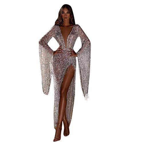 Dasongff Damen Tief V-Ausschnitt Abendkleider Pailletten Fransen Cocktailkleid Partykleid Sexy Abiballkleider mit Seiten Schlitz Durchsichtig Ballkleid Für Karneval Party und Hochzeit