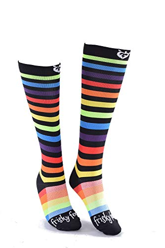 Frisky Feet Rainbow Compression Socks (Medium) Fun Striped for Runners Nurses Traveling Hiking Racing Apparel Graduated Moderate Compression Reduce Swelling Improve Circulation