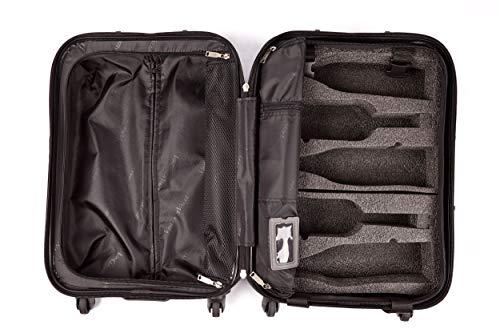 wine travel bag for luggages Personalized Luggage Nameplate - VinGardeValise - Piccolo 01 - 5 Bottle Capacity plus Clothing - All Purpose Wine Travel Suitcase (Black)