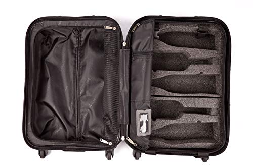 VinGardeValise - Piccolo 01-5 Bottle Capacity plus Clothing - All Purpose Wine Travel Suitcase (Black)