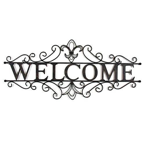 Decorative Wrought Iron Metal Welcome Wall Plaque