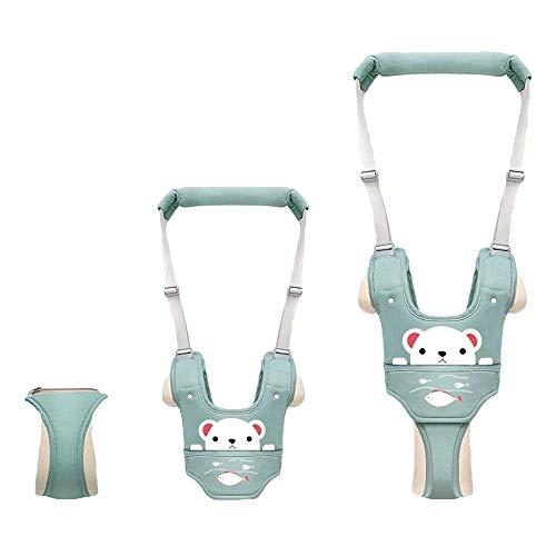 Migimi Lauflernhilfe Gehhilfe, Einstellbare Baby Laufgeschirr Baby Stehen Gehen Lernen Helfer Schutzgürtel Sicherheitsgurte mit Sicherheitsverschluss für Kinder 8-36 Monaten, Grün