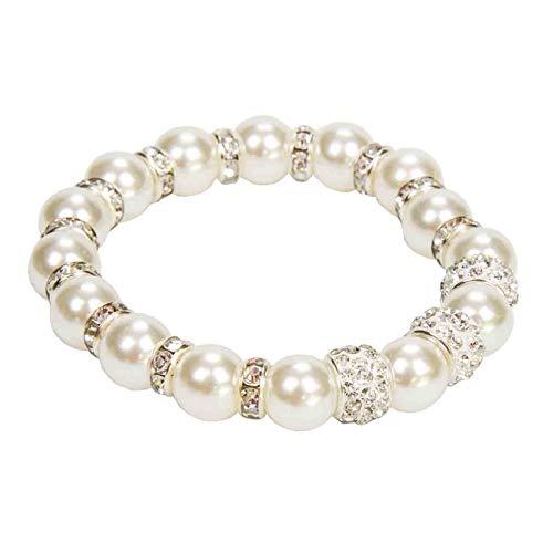 Lote de 15 Elegantes Pulseras de Perlas Blancas con Brillantes. Bisutería. Joyas. Recuerdos y Complementos. Regalos Originales.Detalles de Bodas, Comuniones, Bautizos, Cumpleaños. CC.