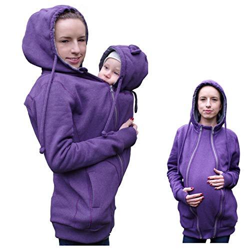 Froggy Style 4in1 Vorne/Hinten Tragejacke für Tragetuch mit Schwangerschaftseinsatz, Umstandsjacke, Baumwolle, Tragepullover (Lila, M (EU 38/40, UK 10/12, US 8/10))