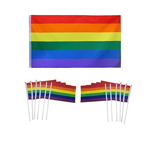 MUROAD Bandiera Arcobaleno, 1+10 Pezzi Bandiera LGBT Gay Pride,1 * 150x90cm Rainbow Flag, 10 * 21 cm x 14 cm Piccola Bandiera Arcobaleno,Double Stitched , Pride LGBT Festival Carnival Flag