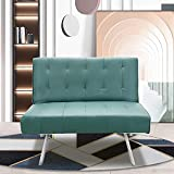 Bonzy Home Small Futon Sofa Couch Bed Modern Convertible Folding Recliner for Dorm, Compact Living Space, Sturdy Metal Legs,Bonus Room with Stylish Design, Green