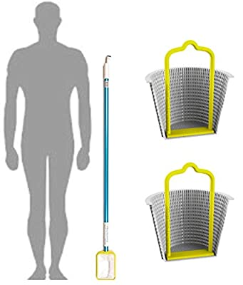 Small Pool Skimmer Deep Net and Hook for Cleaning The Skimmers / 2 Universal Skimmer Handles/Skim Around The Pool and Hot Tub SPA with The Lightweight Pole