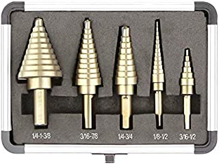 Accurato 5Pcs Step Drill Bit HSS High Speed Steel Titanium Coated 50 Sizes Set w//Aluminum Storage Case
