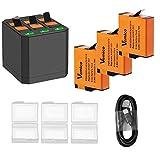 Vemico - Juego de 3 baterías recargables de 1500 mAh para Gopro Hero 7/Hero 6/Hero 5 y caja de carga de 3 canales tipo C USB