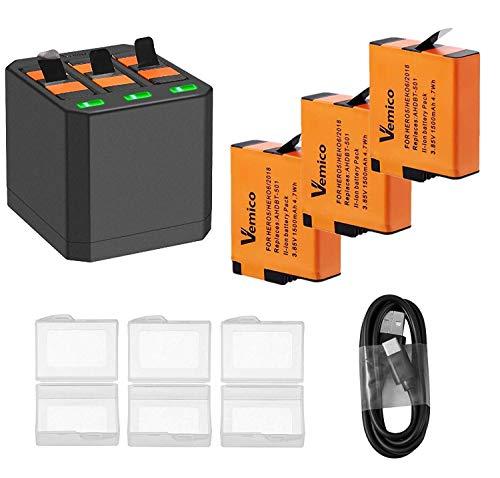 Vemico Ersatz Akku Ladegerät 3 * 1500 mAh Batterie Set für Gopro Hero 8/Hero 7/ Hero 6 / Hero 5 Wiederaufladbare Batterien und 3 Kanal Ladebox Typ-C USB Batteriepack