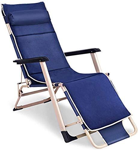 Lounger fauteuil, verstelbare fauteuil, vrije tijd tuinstoel, draagbare fauteuil met koude armleuning, voor buitenterras, camping (blauw)