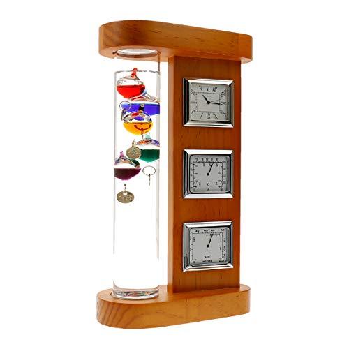 Lantelme Wetterstation Wand Tisch und mit Galileo Holz analog Geschenkidee Thermometer Hygrometer Uhr (Galileo Wetterstation)