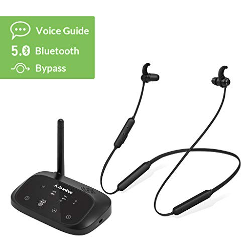 Avantree HT5006 Cuffie Wireless per la visione TV, Auricolari Senza Fili Set con Trasmettitore Bluetooth per Uscite Ottiche, Digitali, RCA, 3.5mm per TV, PLUG and PLAY, Nessun Ritardo Audio