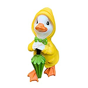 Darthome Ltd Resin Standing Duck With Green Brolly Figurine Decorative Statue Ornament Gift 20cm