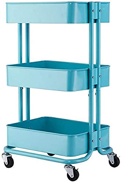 3 Tier Rolling Utility Cart Storage Shelf Trolley Service Cart With Mesh Basket Turquoise