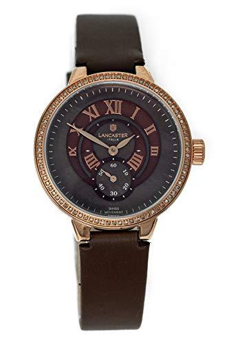 Lancaster Italy Diamond Quarz Uhr Halley Collection IP Rose Gold Braun Perlmutt OLA0675L/RG/MR/MR