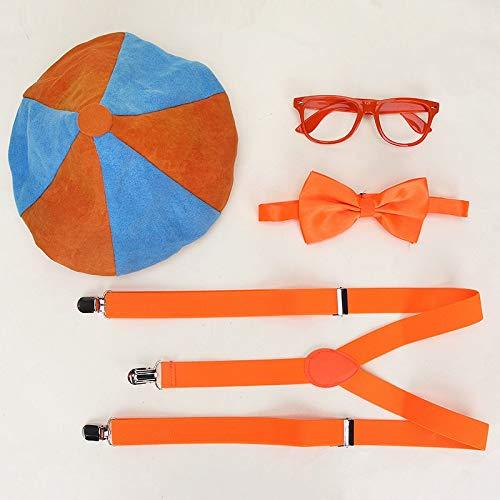 YiXing Juego de 4 piezas para disfraz, gorro, pajarita, gafas, decoracin de fiestas de cumpleaos, globos para nios (color: 4 piezas)