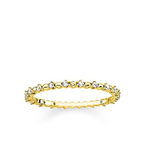 Thomas Sabo Ring Dots Gold, Größe 48, Sterlingsilber und Zirkonia, TR2153-414-14