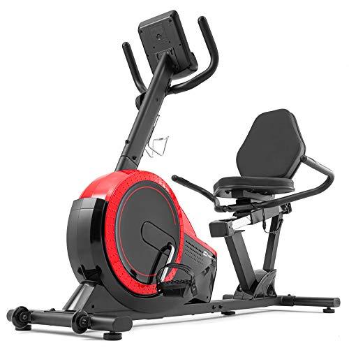 Vélo d'appartement Semi-allongé HS-060L Pulse Assis avec Dossier – Ordinateur - Roue d'inertie de 15 kg – résistance magnétique (Rouge)