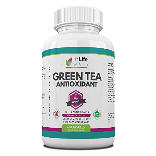 Green Tea Extract Capsules by Fit Life Health - Mega-Strength 850mg Antioxidant Formula - Weight Loss Supplement - Boosts Energy and Focus - Made in UK