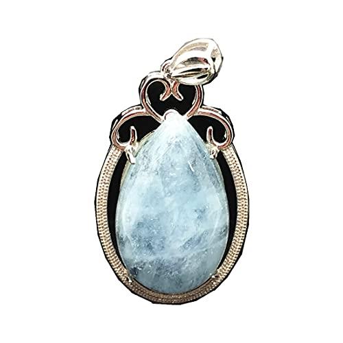 DUOVEKT - Colgante de Aguamarina Azul Natural para Mujer, 33 x 21 x 10 mm, Cuentas de Plata de Ley 925 y Piedras Preciosas Transparentes, joyería AAAAA