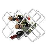 QIQIDIAN Bodega De Diamantes Estante De Vino Wine Rack Adornos Cobera Rack Al Revés Inicio Vino Mostrar Estantería Creativo Moderno Simple Rejilla,Blanco,8 Bottles