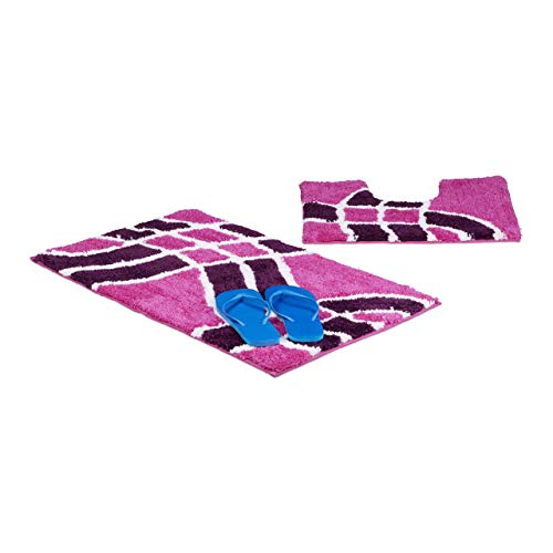 Relaxdays Badgarnitur 2-teilig mit Wellenmuster, Für Fußbodenheizung, Waschbar, Badematte und WC-Vorleger, Für Stand-WC, 80 x 50 cm, beere