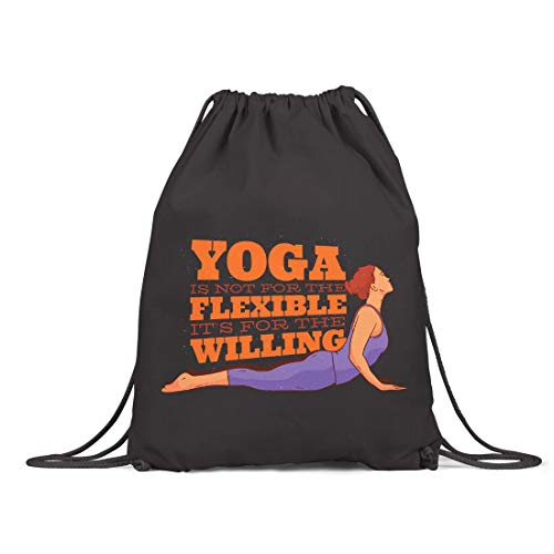 BLAK TEE Yoga Woman Organic Cotton Drawstring Gym Bag Black