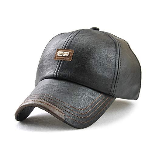 Wiemoon 1 Pieza 56-60 CM Gorras de Béisbol para Hombre Sombrero de Invierno Sombrero de Cuero de La PU Hueso Equipado Negro (Ropa)