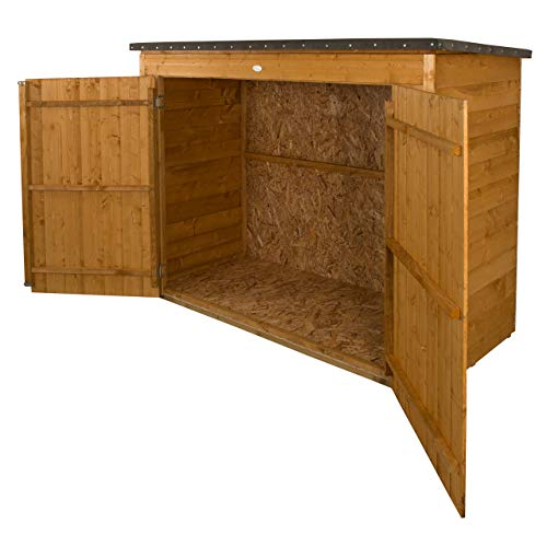 Forest Plus Dip Treated Large Overlap Pent Outdoor Store/Bike Shed, Natural, L10 x W4 x H9 Inches, 2000 Litre