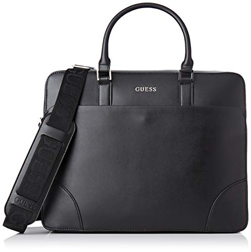 Guess Herren Manhattan Laptop Tasche, Schwarz (Black), 8.5x29x37 centimeters