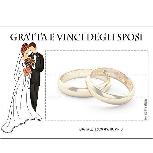 Gratta E Vinci Matrimonio Horus Creations - 25 Gratta E Vinci Da Personalizzare - Consegnalo Ai Tuoi Ospiti - Rendi Divertente E Originale Il Tuo Matrimonio - Gratta E Vinci Degli Sposi (Bianco Panna)