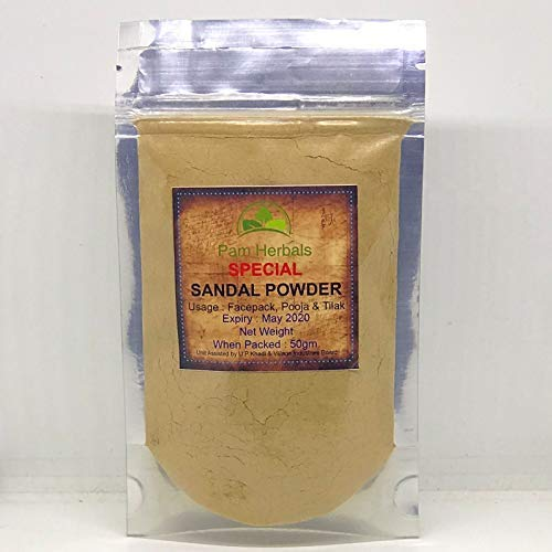 Pam Herbals Special Sandalwood Powder For Face pack,Worship & Auspicious occasions (Sandalwood Powder 50g Pouch)